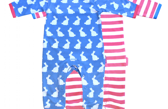 Organic Cotton Baby Clothes – Bunny Newborn Babygrow 2 Pack